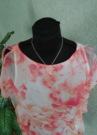 Легкая блуза с красивым принтом: розовые орхидеи ук.р-42-44. orsay.