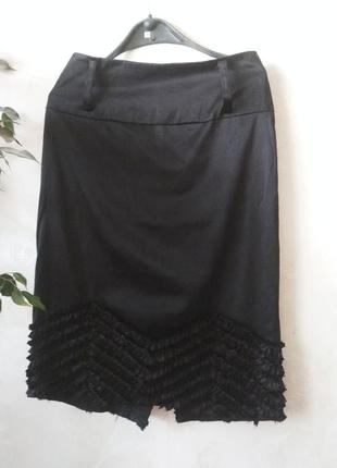 Французская миди юбка под атлас с рюшами