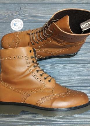 Кожаные ботинки высокие броги black mens оригинал!