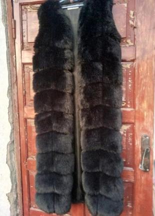 Шикарная длинная шубка-жилетка 48-50р