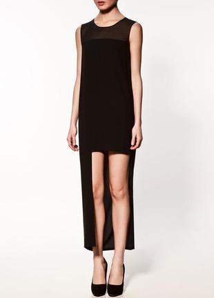 Экстравагантное платье асимметричной длины с прозрачной кокеткой и сумочной застежкой м