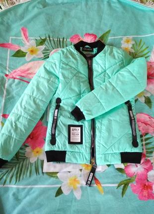Курточка ветровка весна-осень мятного цвета