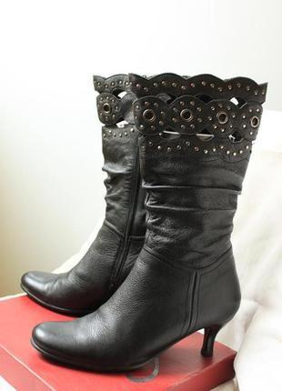 Сапоги на вечеринку, осенние ,черные, кожаные, размер 37