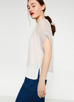 Комбинированная фактурная блузка топ 2в1 zara woman turkey