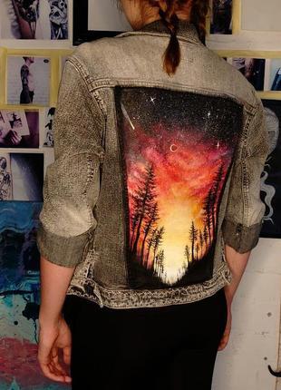Джинсовая куртка с росписью, ручная работа ♥️