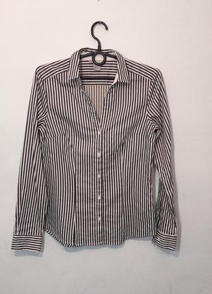 Классная базовая офисная рубашка в полоску. 8/s
