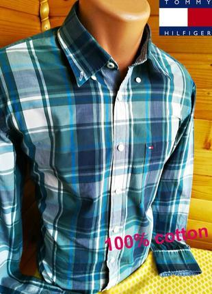 Шикарная брендовая рубашка  в клетку от tommy hilfiger, оригинал. размер м.
