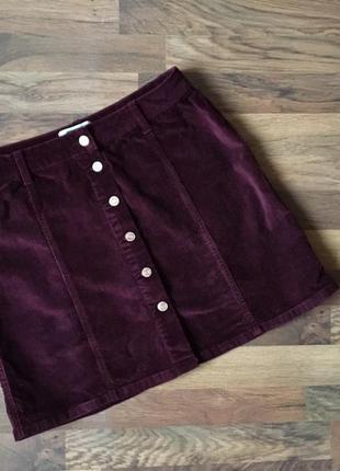 Стильная бордовая вельветовая юбка размер l