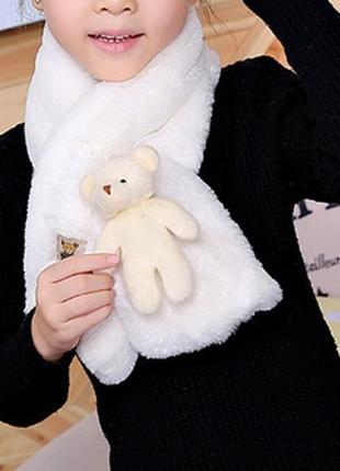 12-45 ніжний м'який дитячий шарф з ведмедиком детский шарфик