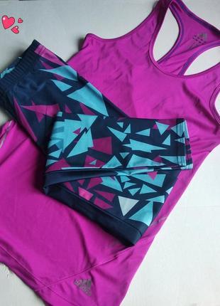 Комплект красивый лосины+майка,одежда для фитнеса
