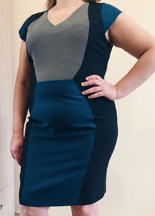 Синее{черное} классическое офисное платье футляр