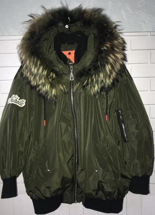 Зимняя куртка оверсайз с натуральным мехом