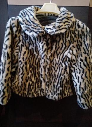 Шубка леопардовая ,размер 36