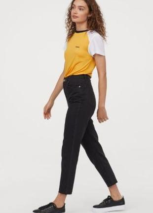 Супер модные джинсы момс черные с высокой талией, плотный деним h&m, размер 38
