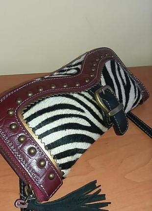 Кожаная сумочка-клатч от avant-premiere (италия) с нат мехом