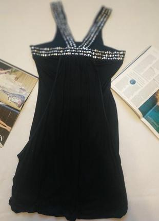 """Стильное тёмно-синее (navy) платье с серебряным декором и шелком""""warehouse"""""""