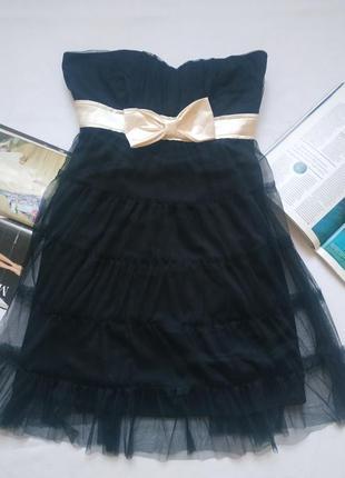 """Элегантное вечернее платье-бюстье с лентой-бантом """"select"""""""