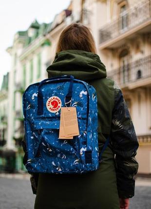 Рюкзак стильный синий унис fjall raven женский /мужской 16л