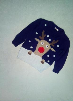 Новогодний свитерок с оленем на модника 3/4 года