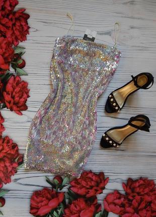 🌿сногшибательное, сверкающее платье в двухстороние паетки от topshop. размер м. 🌿