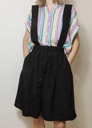 Льняной винтажный комбинезон шорты с широкими бретелями, размер s