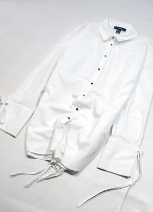 """Біла сорочка оверсайз із зав""""язками"""