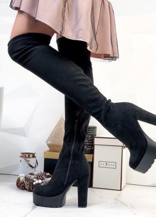 Женские ботфорты на каблуке.