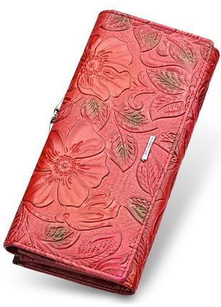 Кошелек кожаный женский с цветочным тиснением. кошелек из натуральной кожи цветы (красный)