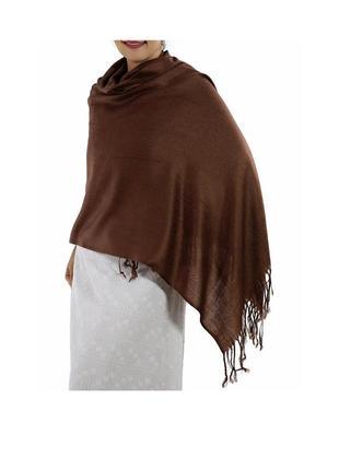 Шоколадного цвета шарф-палантин sonia buratti