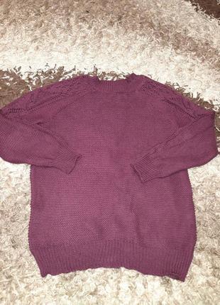 Женский свитер с ажурным рукавом 42-50 размера