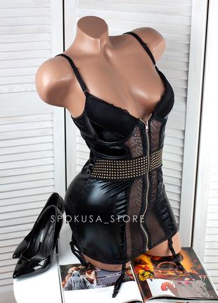 Латексное кожаное платье сексуальное эротическое белье из латекса кружевное короткое мини