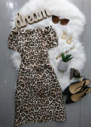 Актуальное шелковое платье мини в леопардовый принт №13max
