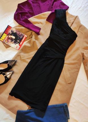 Coast платье чёрное вечернее коктейльное га одно плечо на подкладке