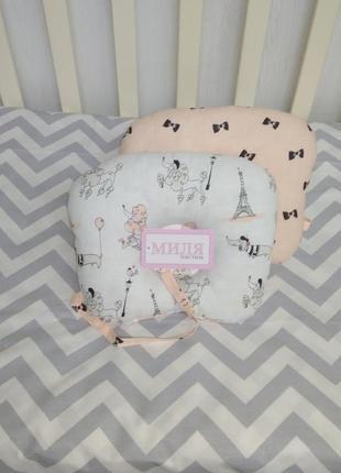 Подушка ортопедическая для новорождённых деток с хлыстиком для соски т. м. миля.