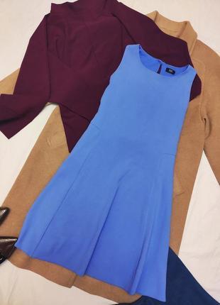 Небесно голубое синее платье трапеция на подкладке классическое f&f