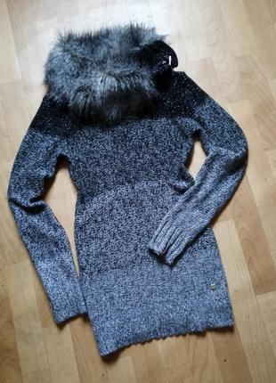 Теплый удлиненный свитер, платье тёплое, р.44- 46( м - л)