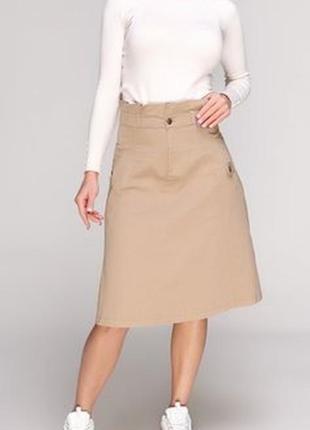 Джинсовая юбка бежевая коттоновая миди трапеция ниже колена cotton traders