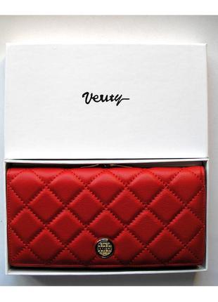 Большой кожаный кошелек verity red, 100% натуральная кожа, есть доставка бесплатно