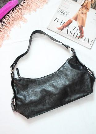 Черная сумка багет h&m кожзам винтажная трендовая сумка