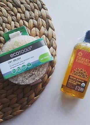 Набор ecotools щетка для сухого массажа + органическое масло жожоба desert essence