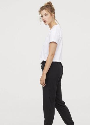 Черные трикотажные теплые  штаны с начесом