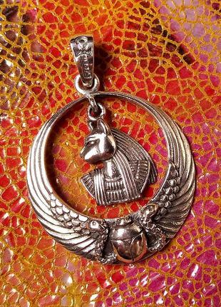 Подвеска серебряная женская кулон баст египетская богиня бастет