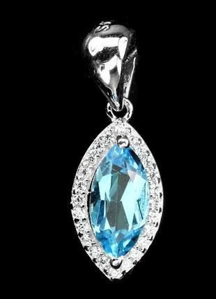 Кулон-подвес с природным голубым топазом, серебро 925, тайланд
