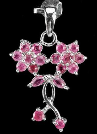 Кулон-подвес с натуральный розовым рубином, серебро 925,тайланд
