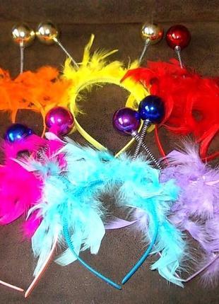Обручи маскарадные с перьями и рожками - цена за 6 штук