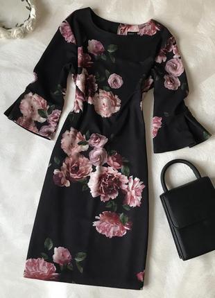 Чёрное платье свободный прямой крой dorothy perkins