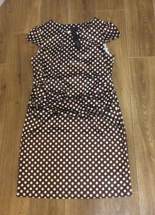 Платье в горошек коричневое новое zanzea