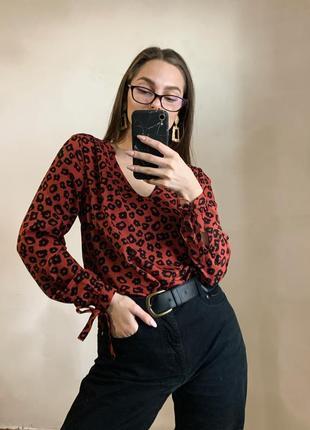 Рубашка в леопардовый принт с объёмными рукавами