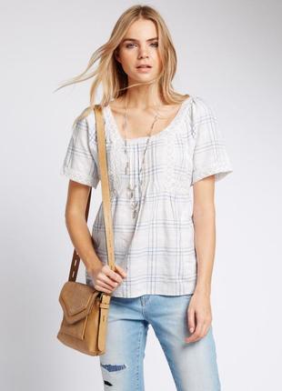 Хлопковая блузка с кружевом m&s indigo collection, разм. xl