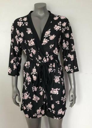 Трикотажный халат на запах marilyn monroe с цветочным принтом